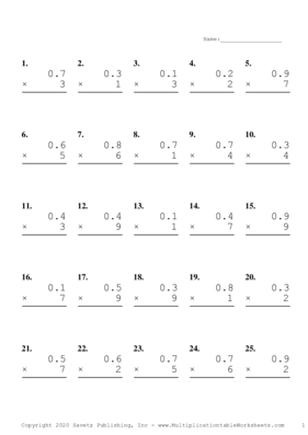 One Decimal by One Digit Problem Set A Multiplication Worksheet