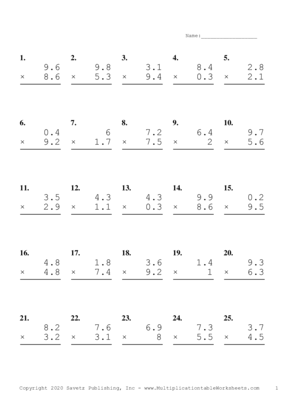 One Decimal Problem Set B Multiplication Worksheet