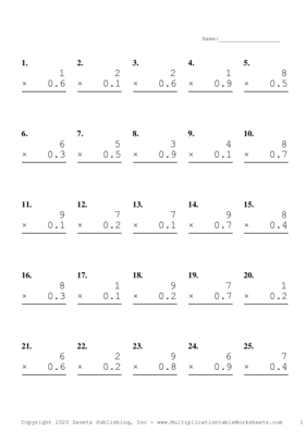 One Digit by One Decimal Problem Set F Multiplication Worksheet