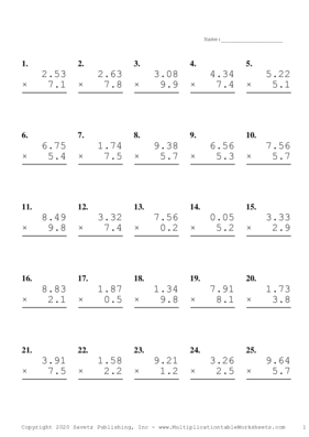 Two Decimal by One Decimal Problem Set E Multiplication Worksheet