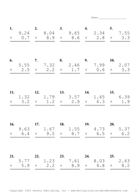 Two Decimal by One Decimal Problem Set H Multiplication Worksheet
