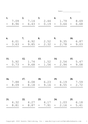 Two Decimal Problem Set C Multiplication Worksheet