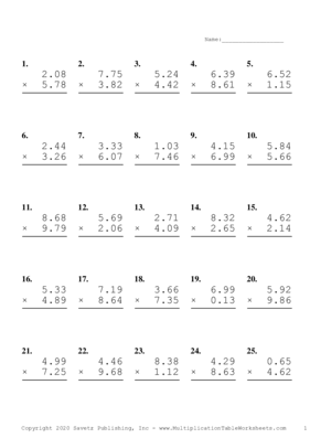Two Decimal Problem Set I Multiplication Worksheet