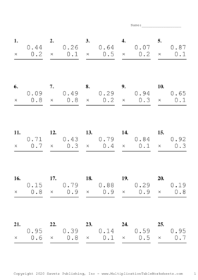 5th to 6th Grade Collection Multiplication Worksheet