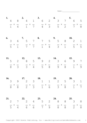 Single Digit Fraction Problem Set A Multiplication Worksheet