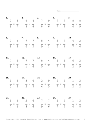 Single Digit Fraction Problem Set C Multiplication Worksheet