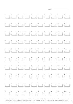 Single Digit Sequential Problem Set Multiplication Worksheet