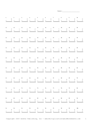 Single Digit Problem Set B Multiplication Worksheet