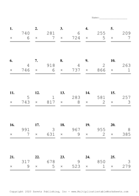 Three by One Digit Problem Set B Multiplication Worksheet