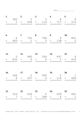 Three by One Digit Problem Set H Multiplication Worksheet