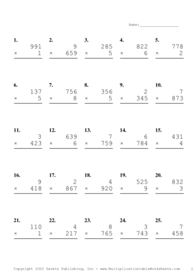 Three by One Digit Problem Set J Multiplication Worksheet
