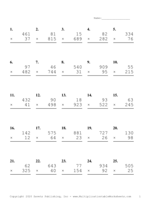 Three by Two Digit Problem Set B Multiplication Worksheet