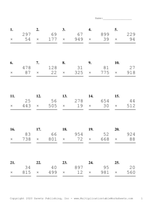Three by Two Digit Problem Set H Multiplication Worksheet
