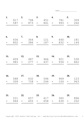 Triple Digits Problem Set A Multiplication Worksheet