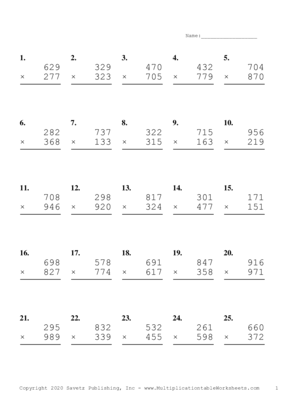Triple Digits Problem Set B Multiplication Worksheet