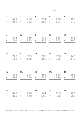 Triple Digits Problem Set C Multiplication Worksheet