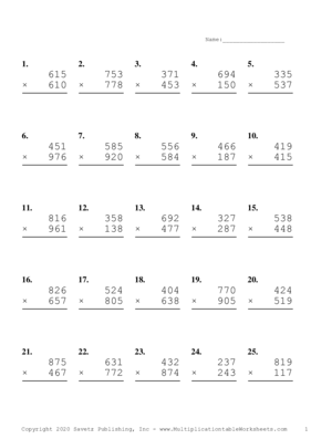 Triple Digits Problem Set D Multiplication Worksheet