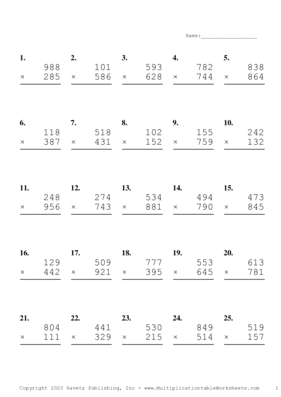 Triple Digits Problem Set F Multiplication Worksheet