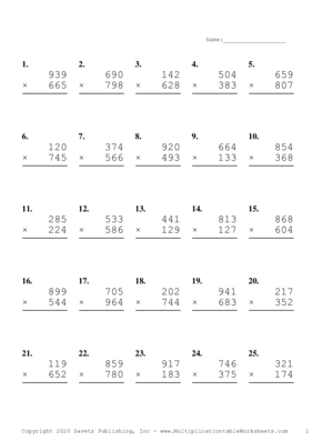 Triple Digits Problem Set L Multiplication Worksheet