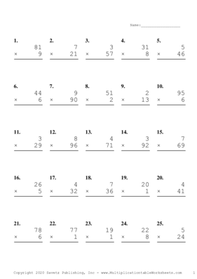 Two by One Digit Problem Set C Multiplication Worksheet