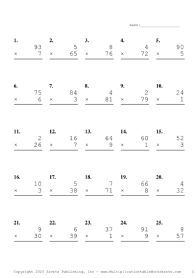 Two by One Digit Problem Set D Multiplication Worksheet