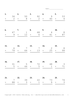 Two by One Digit Problem Set H Multiplication Worksheet
